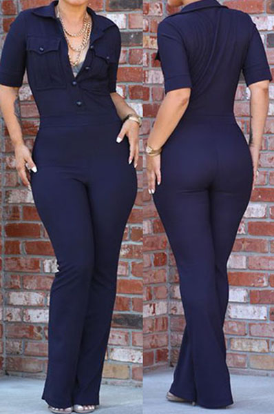 Sexy Short Sleeves Solid Blue Cotton Blend One-piece Regular Jumpsuit<br>
