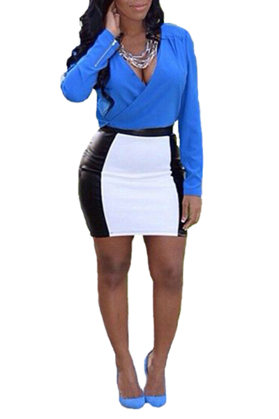 Fashion  Color Block V Neck Long Sleeves Blue Blue Blending  Two-piece Outfits<br>
