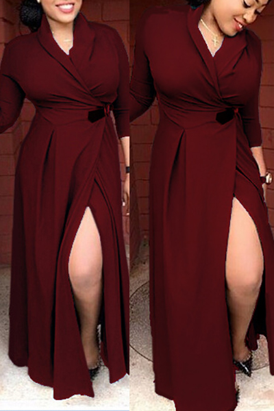 Sexy V Neck Long Sleeves Split Wine Red Blending Floor Length Dress Dresses <br><br>