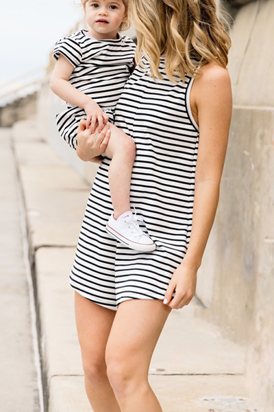 Casual O Neck Tank Sleeveless White Striped Cotton Blend One-piece Jumpsuits (Only Childrens)<br>