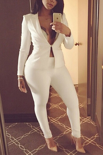 Stylish Turndown Collar Long Sleeves White Polyester Two-piece Pants Set<br>