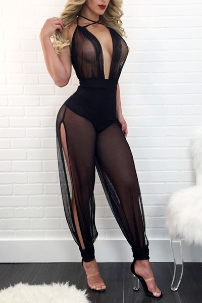 Sexy Sleeveless See-Through Black Gauze One-piece Skinny Jumpsuits<br>