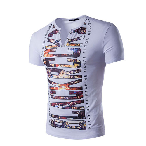 Pullovers Cotton V Neck Short Sleeve Print Men Clothes<br>