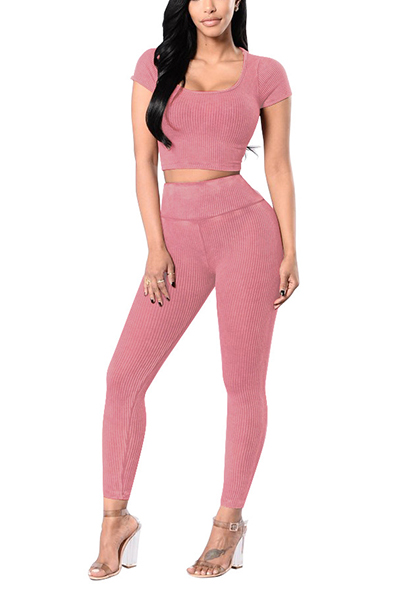 Casual U-shaped Neck Short Sleeves High Waist Pink Cotton Blend Two-piece Pants Set<br>