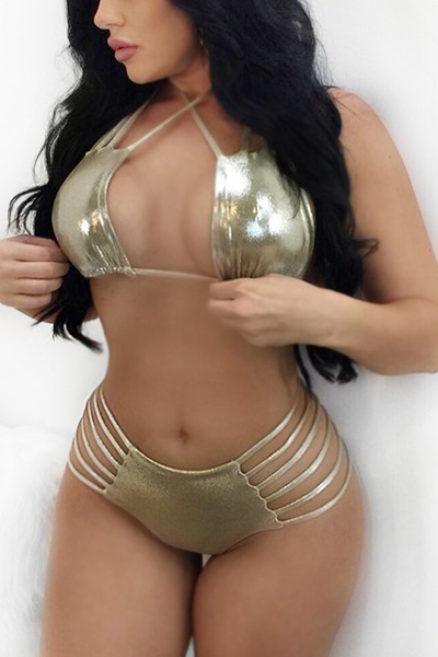 Sexy Halter Neck Hollow-out Gold Polyester Two-piece Swimwear<br>
