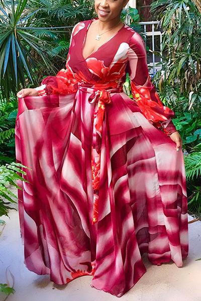 Euramerican V Neck Long Sleeves Printed Red Chiffon Floor Length Dress Dresses <br><br>