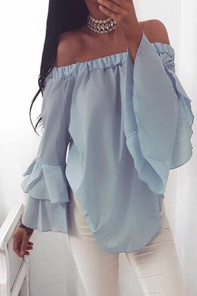 Stylish Dew Shoulder Long Sleeves Falbala Design Blue Chiffon Shirts<br>