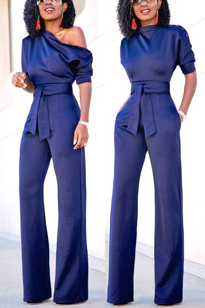 Euramerican Navy Blue Knitting One-piece Jumpsuits<br>