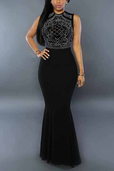 Stylish Round Neck Sleeveless Rhinestone Decorative Black Milk Fiber Sheath Ankle Length Dress Dresses <br><br>
