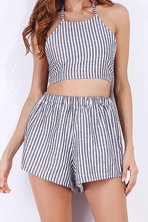 Multi Blending Shorts Striped O neck Sleeveless Casual Two Pieces<br>