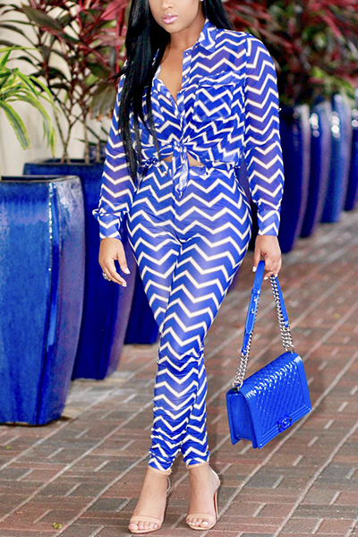 Euramerican Striped Printed Blue Healthy Fabric Two-piece Pants Set<br>