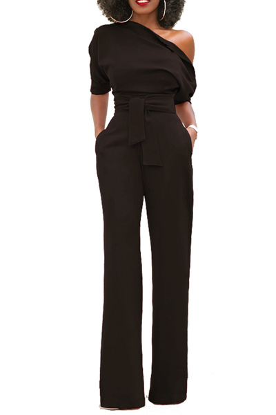 Stylish One-shoulder Black Polyester One-piece Jumpsuits(With Belt)<br>