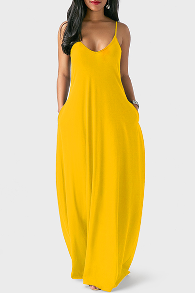 Casual V Neck Asymmetrical Yellow Blending Floor Length Dress Dresses <br><br>