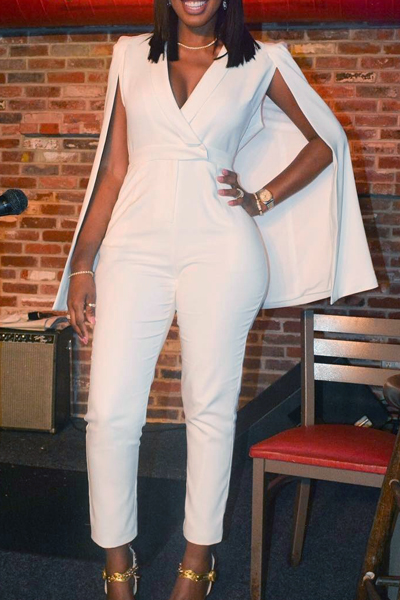 Stylish V Neck White Twilled One-piece Jumpsuits<br>