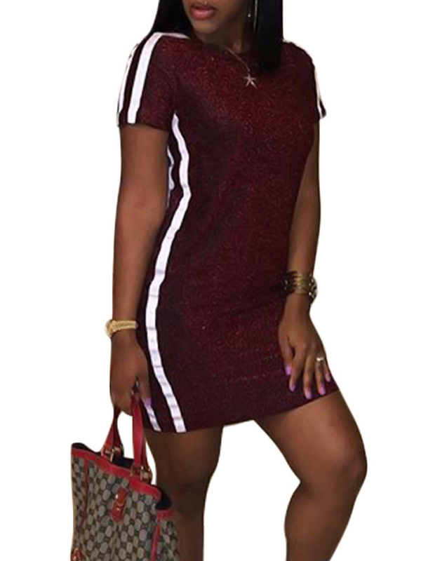 Leisure Round Neck Patchwork Wine Red Polyester Sheath Mini Dress Dresses <br><br>