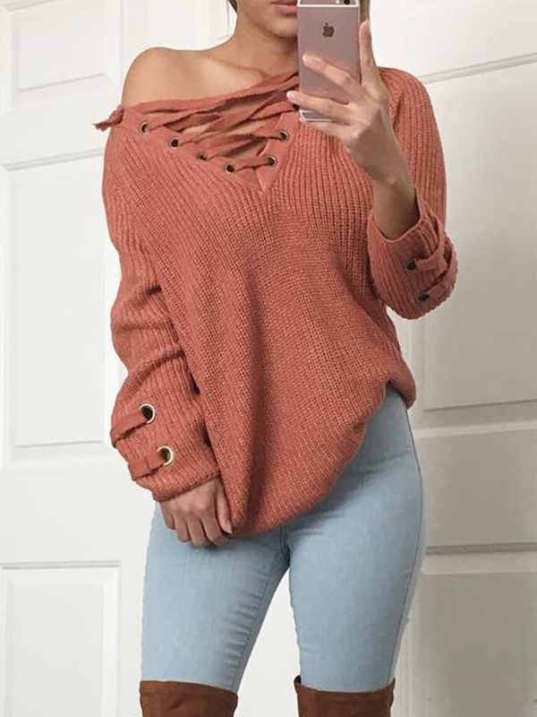 Leisure V Neck Long Sleeves Drill Red Acrylic Sweaters<br>