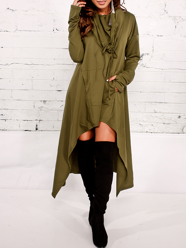 Leisure Heaps Collar Asymmetrical Army Green Cotton Blends Pullovers<br>