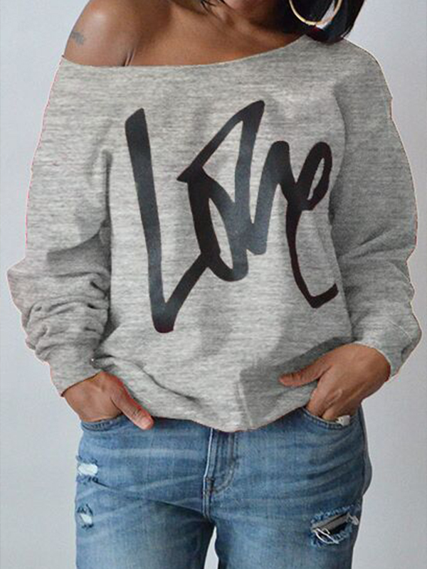 Leisure Round Neck Long Sleeves Letters Printing Grey Cotton Pullover<br>