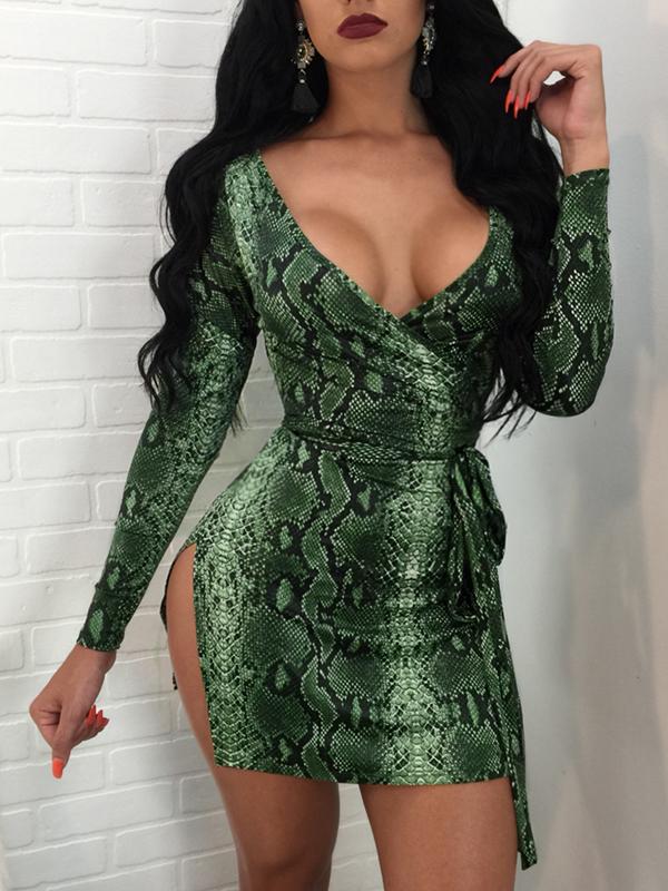 Trendy V Neck Long Sleeves Snakeskin Printing Green Milk Fiber Sheath Mini Dress Dresses <br><br>