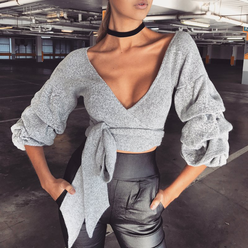 Casual V Neck Long Sleeves Lace-up Grey Cotton Pullovers<br>