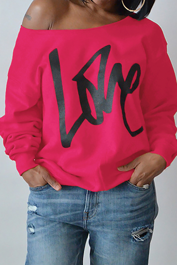 Leisure Round Neck Long Sleeves Letters Printing Rose Red Cotton Pullover<br>