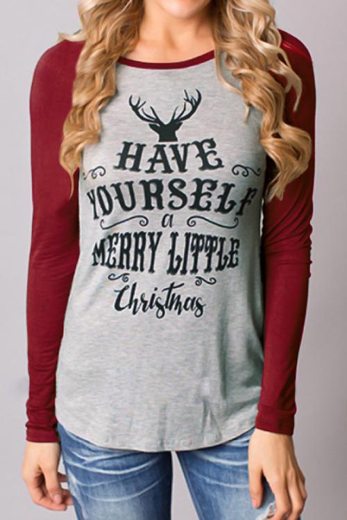 Christmas Print Long Sleeves T-shirt<br>