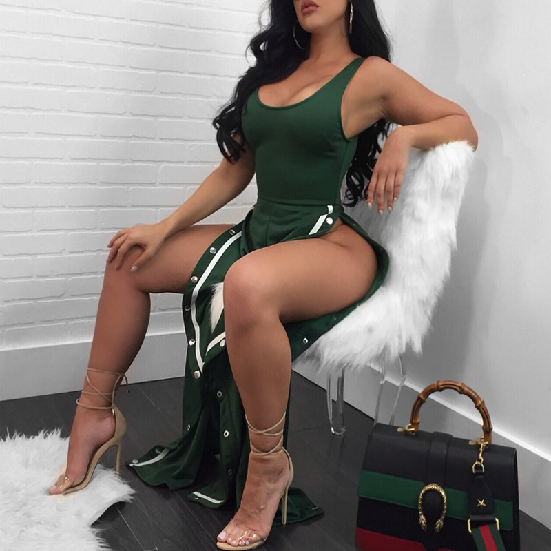 Sexy Side Split Green Polyester One-piece Jumpsuits<br>
