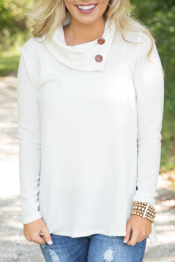 Trendy Long Sleeves Side Split White Cotton Shirts<br>