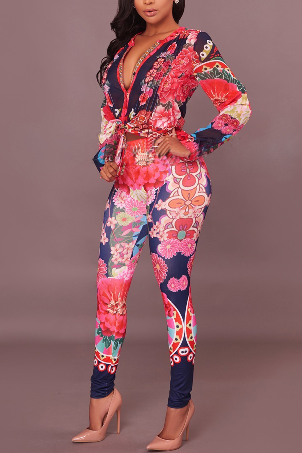 Euramerican V Neck Floral Print Red Polyester Two-piece Pants Set<br>