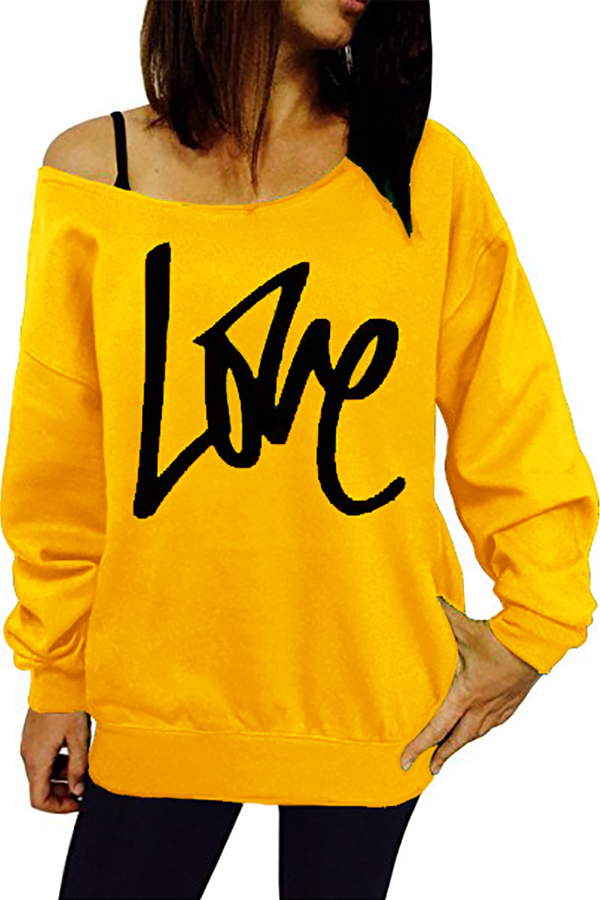 Leisure Round Neck Long Sleeves Letters Printing Yellow Cotton Pullover<br>