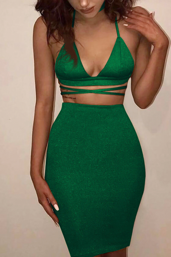 Sexy Backless Hollow-out Green Cotton Two-piece Skirt Set<br>