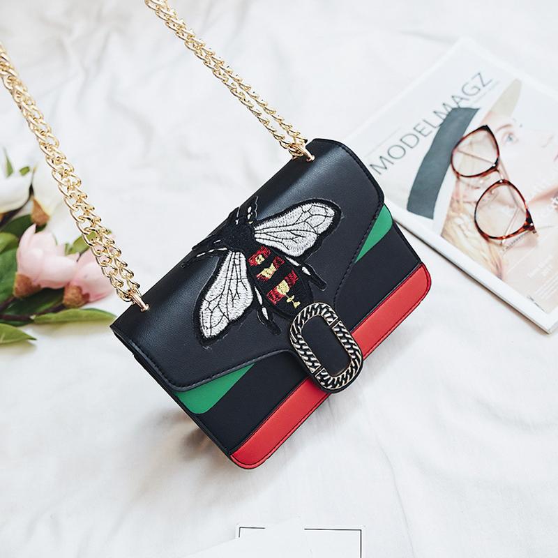 Stylish Embroidery Decorative Black PU Crossbody Bag<br>