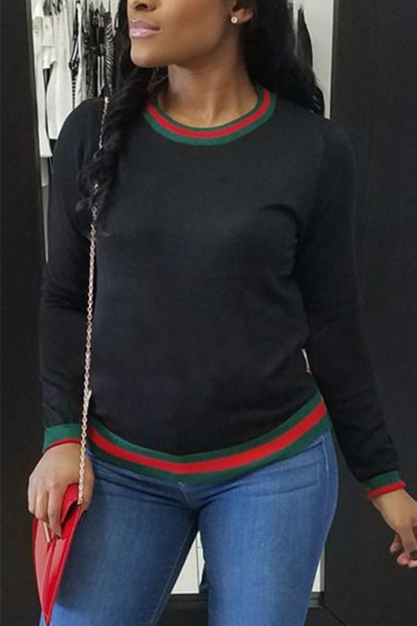 Casual Round Neck Patchwork Black  Cotton Blends T-shirt<br>