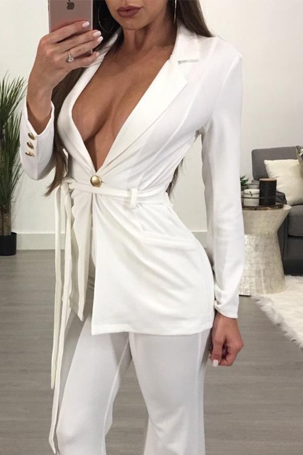 Euramerican Deep V Neck Button Decorative White Cotton Blazer<br>