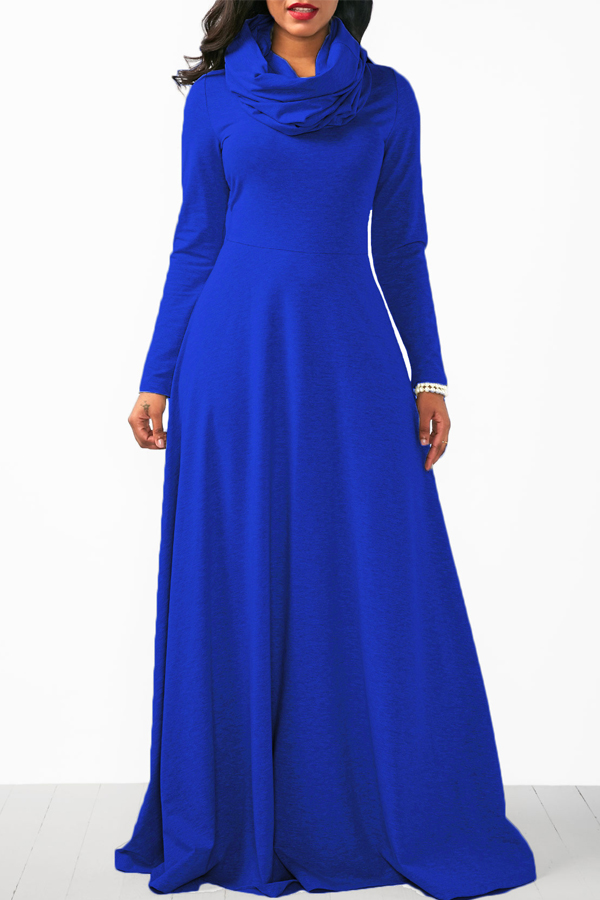 Casual Heaps Collar Long Sleeves Blue Cotton Ankle Length Dress Dresses <br><br>