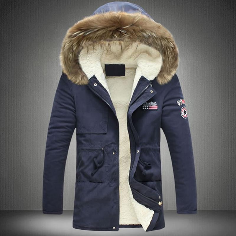 Stylish Hooded Collar Zipper Design Navy Blue Cotton Coats<br>