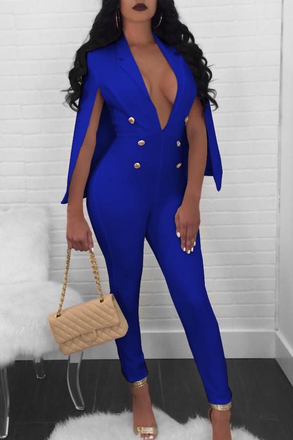 Euramerican Deep V Neck Cloak Design Blue Polyester One-piece Jumpsuits<br>