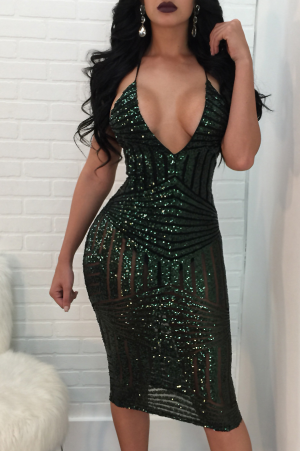 Sexy V Neck Back Lace-up Hollow-out Green Polyester Knee Length Dress Dresses <br><br>