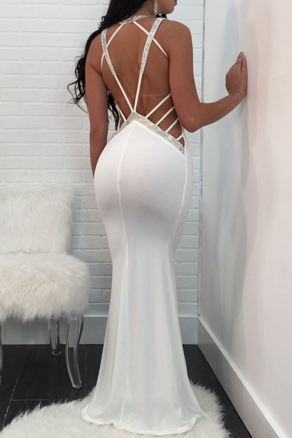 Sexy V Neck Lace-up Hollow-out White Polyester Floor length Dress Dresses <br><br>