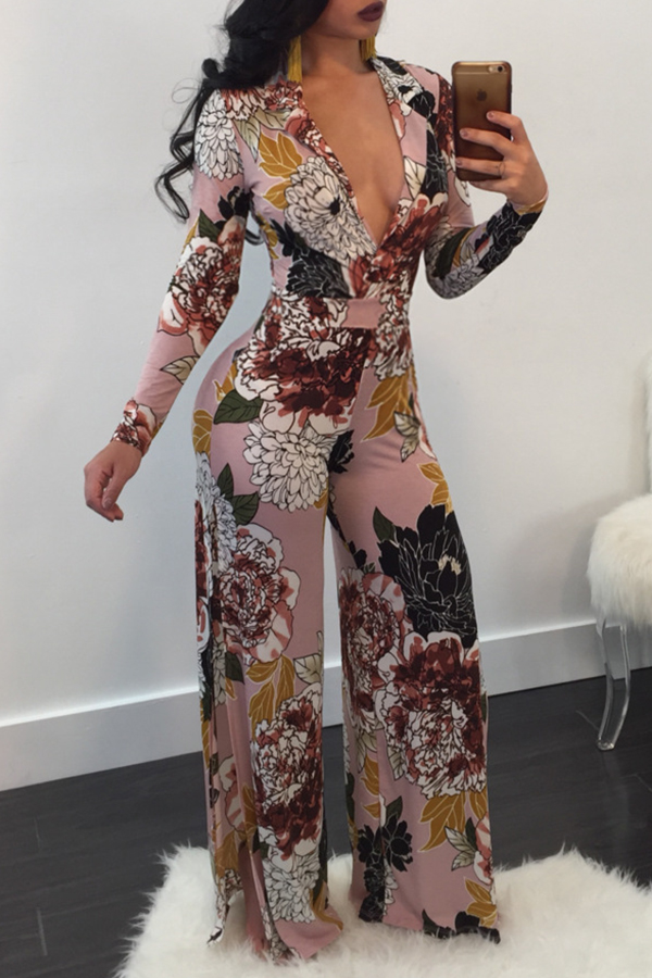 Sexy Deep V Neck Printed Polyester One-piece Jumpsuits<br>