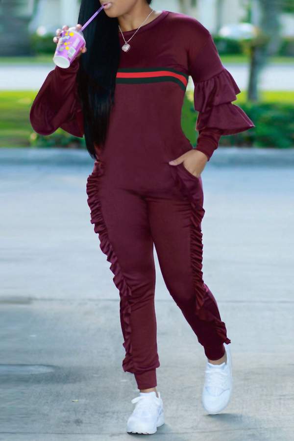 Leisure Round Neck Ruffles Patchwork Purplish Red Polyester One-piece Jumpsuits<br>