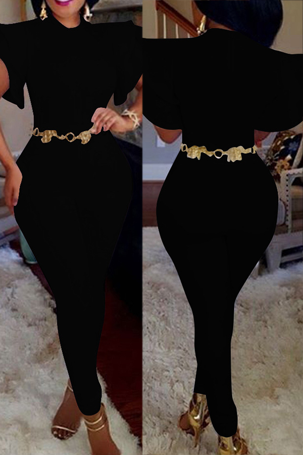 Stylish Round Neck Lotus Leaf Sleeves Black Polyester One-piece Jumpsuits(Without Belt)<br>