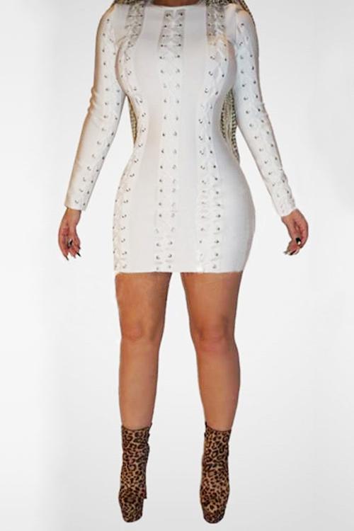 Polyester Fashion O neck Cap Sleeve Long Sleeve Sheath Mini Dresses Dresses <br><br>