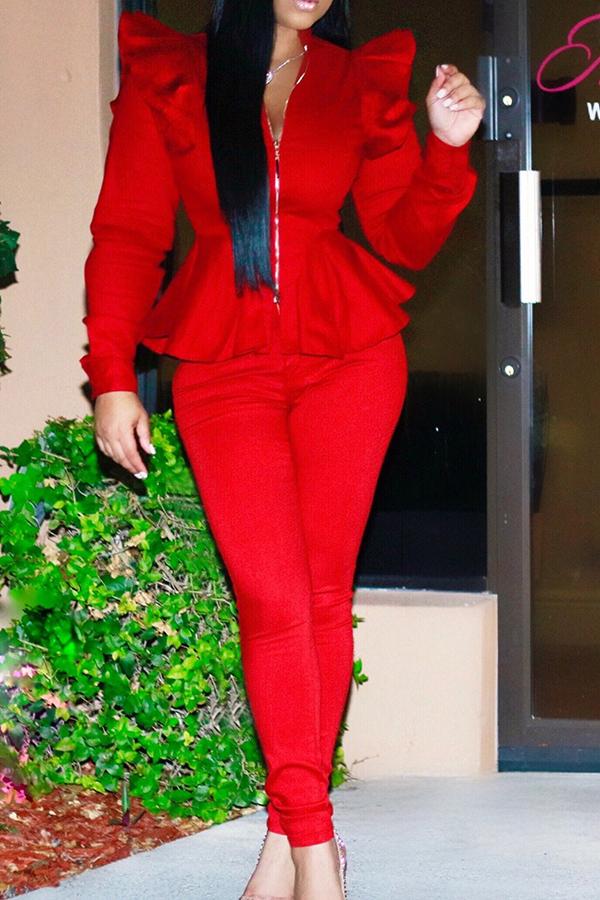 Fashion Mandarin Collar Falbala Design Red Polyester Two-Piece Pants Set<br>