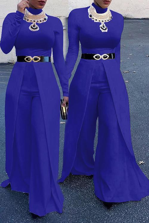 Fashion Round Neck Wide legs Design Blue Cotton Blends One-piece Jumpsuits(Without Accessories)<br>