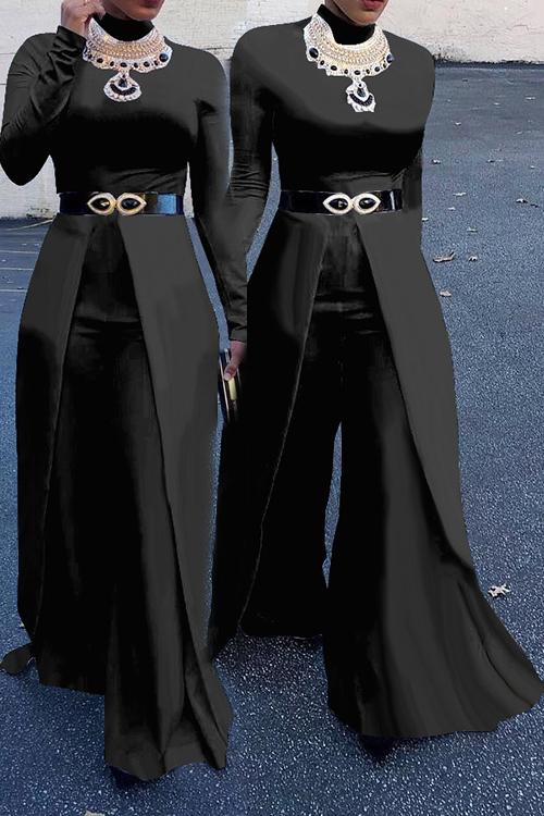 Fashion Round Neck Wide legs Design Black Cotton Blends One-piece Jumpsuits(Without Accessories)<br>