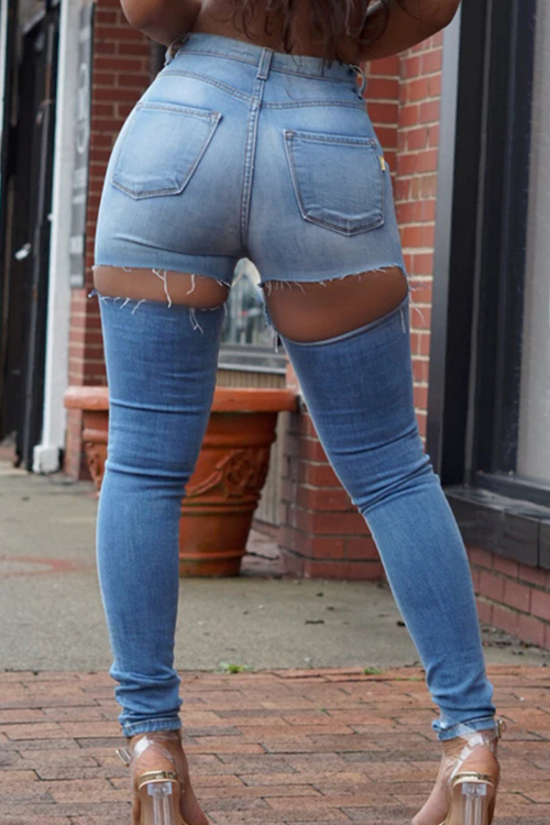 Fashion Mid Waist Broken Holes Light Blue Denim Zipped Jeans<br>