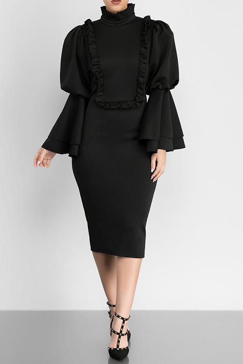 Vintage Mandarin Collar Trumpet Sleeves Ruffle Design Black Polyester Knee Length Dress Dresses <br><br>