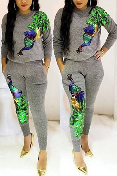 Casual Round Neck Peacock Sequined Decorative Grey Polyester Two-piece Pants Set<br>