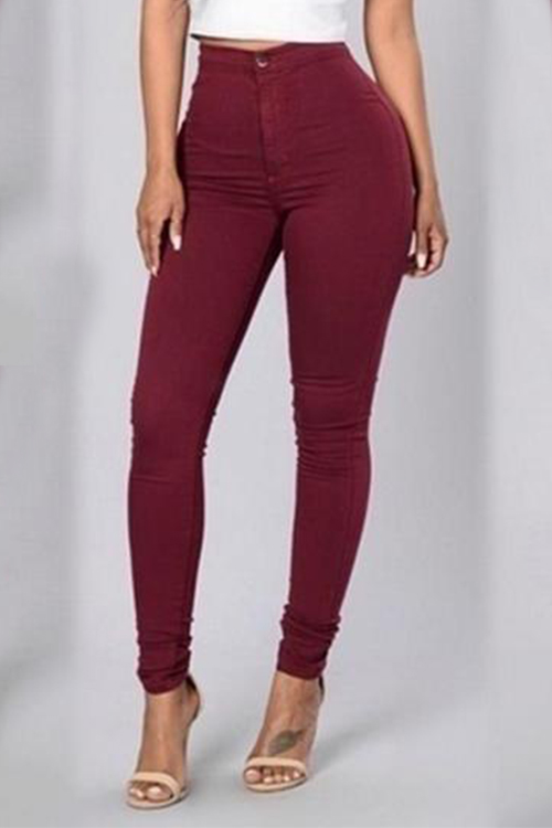 Euramerican High Waist Zipper Design Wine Red Denim Pants<br>